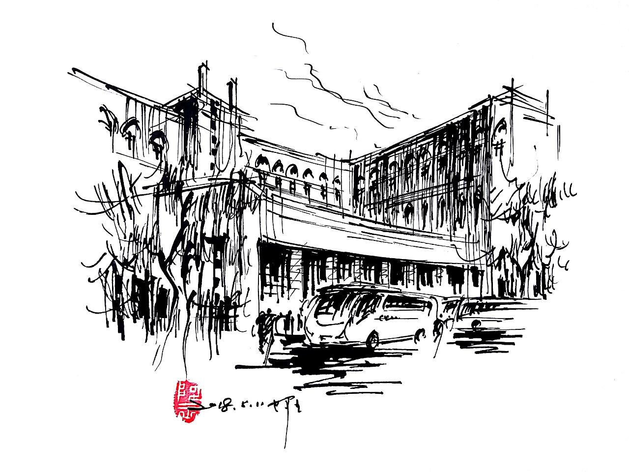 阿王速写建筑风景手绘