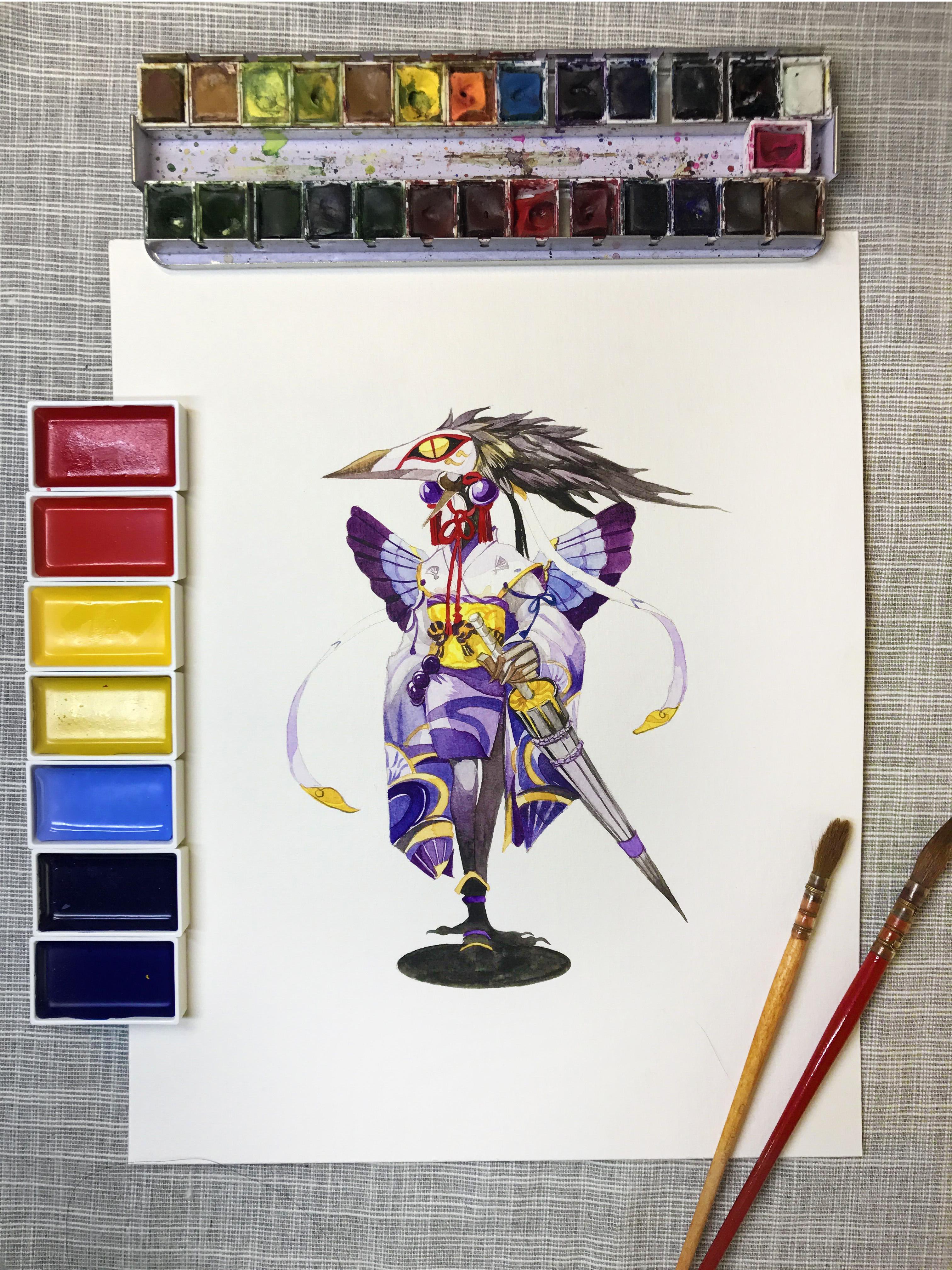 水彩手绘--阴阳师 姑获鸟