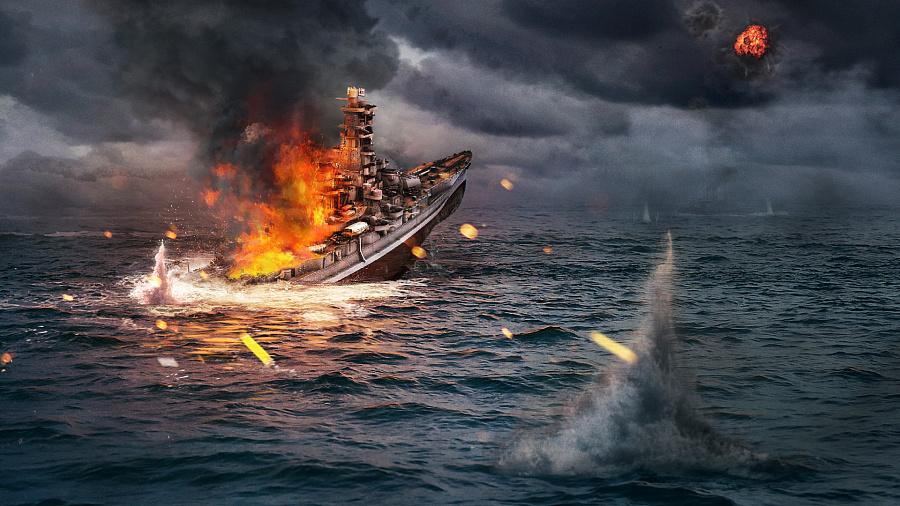 查看《雾岛自沉-日本战舰沉没合成图》原图,原图尺寸:1920x1080