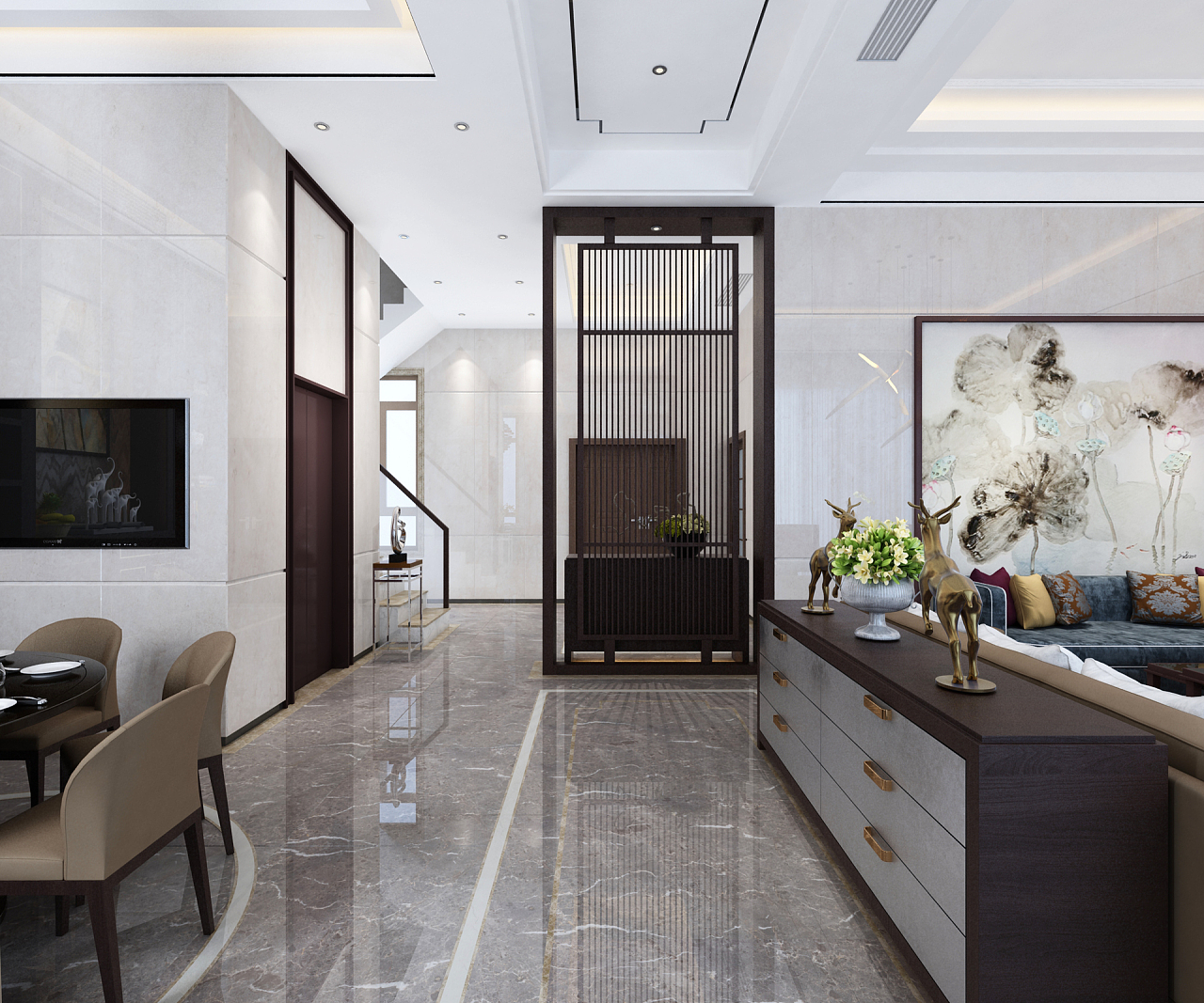 天伦庄园叠加复试别墅300平方新中式风格装修效果图图片