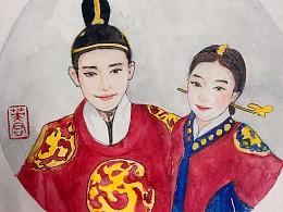 水彩插画人物头像韩国帅哥美女