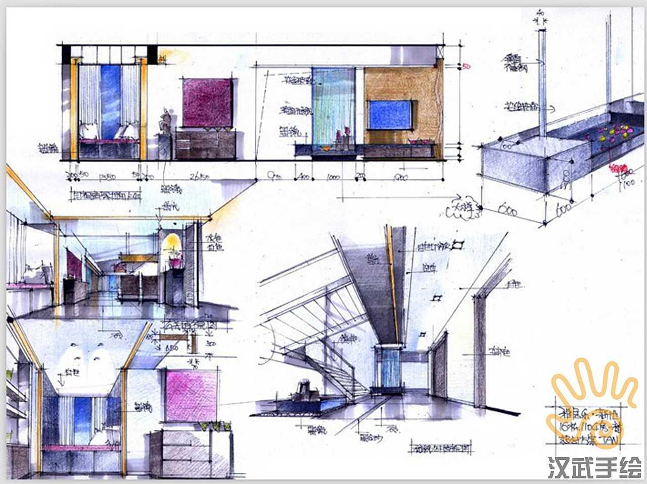 室内设计手绘考研快题模版|空间|室内设计|汉武手绘