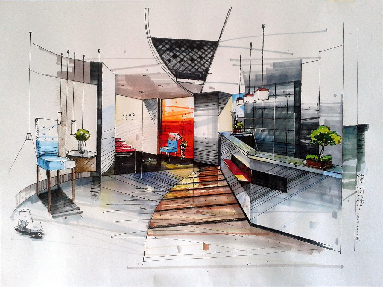 手绘练习|空间|室内设计|chenguohua - 原创作品