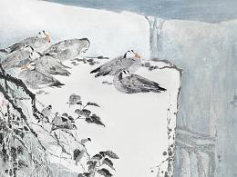 《苍岩初雪》(180X146cm)-2017年-中国画