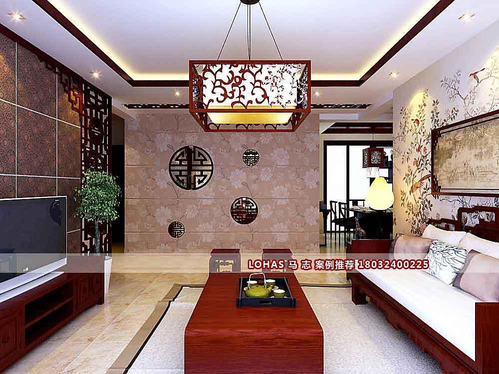【林荫大院装修】林荫大院141平米c4户型三室两厅中式风格装修效果图图片