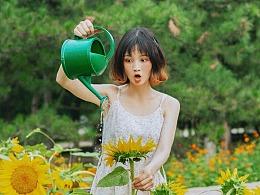 女孩和向日葵园
