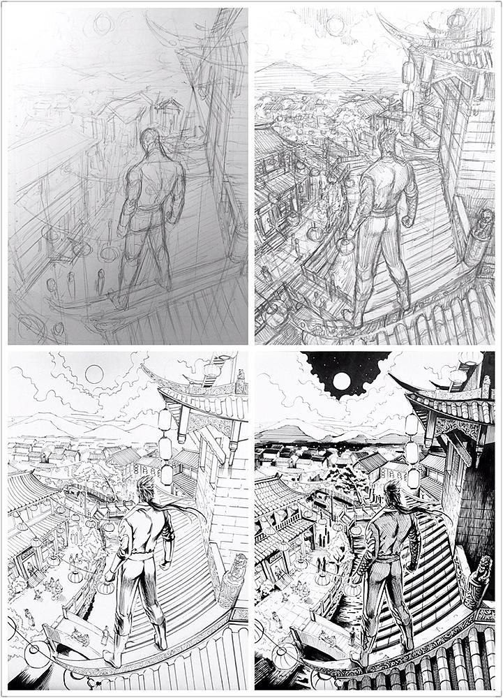 手绘练习-漫画场景篇 动漫 单幅漫画 冰仔 - 原创作品