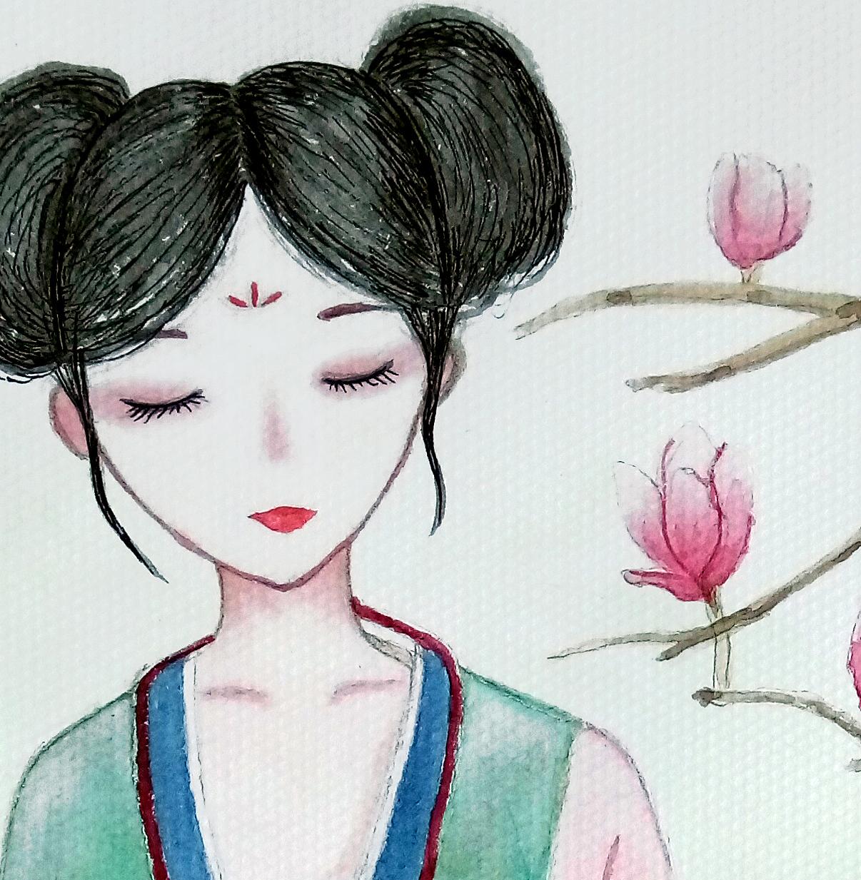 手绘古风水彩人物|插画|插画习作|可可西里ting