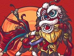 新年舞狮主题 礼盒包装插画
