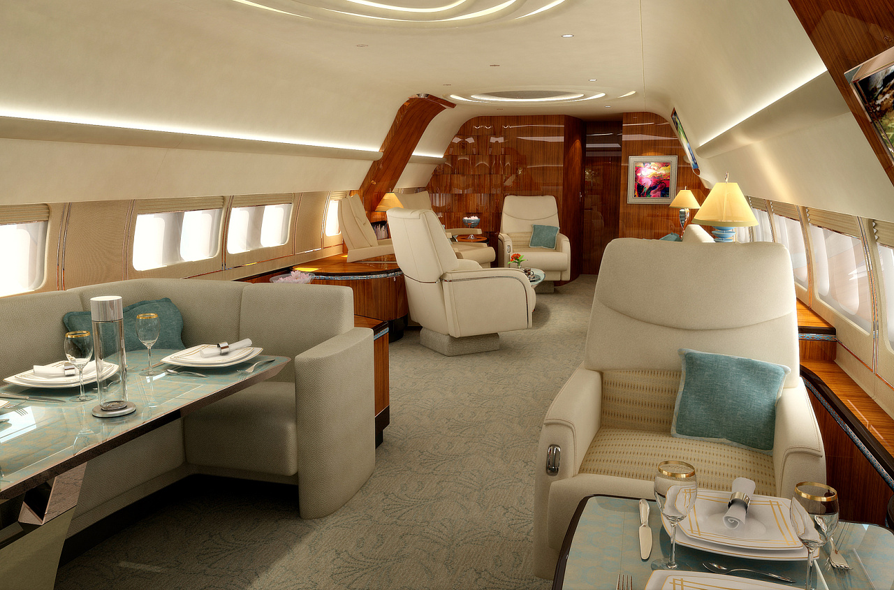 为波音747私人飞机内部设计的效果图