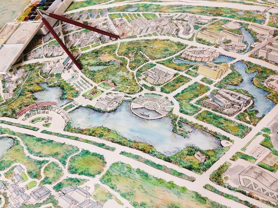 原创作品:南昌大学手绘地图