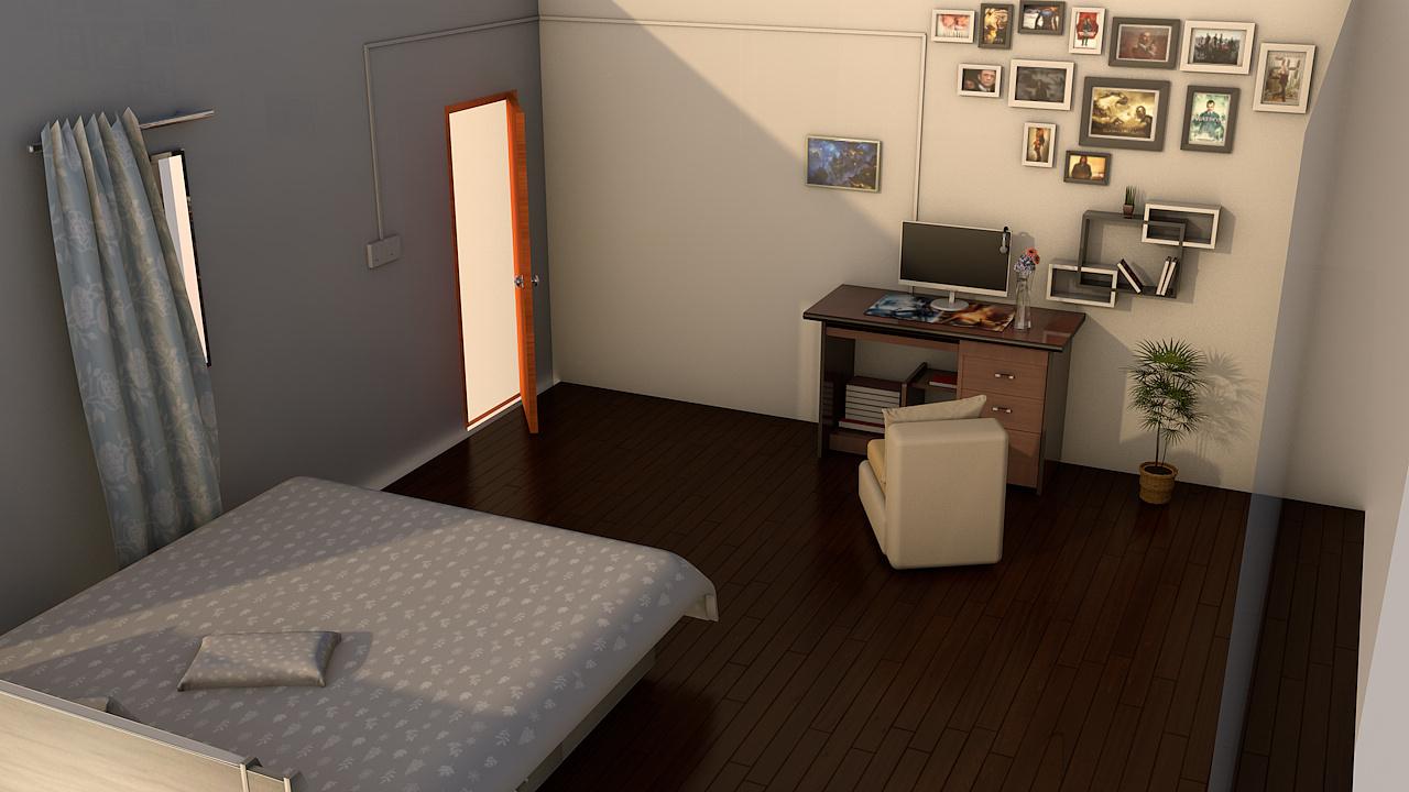 三维手绘房间电脑桌面