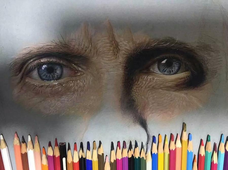 手绘人物写实|彩铅|纯艺术|孤独幻者xi - 原创设计
