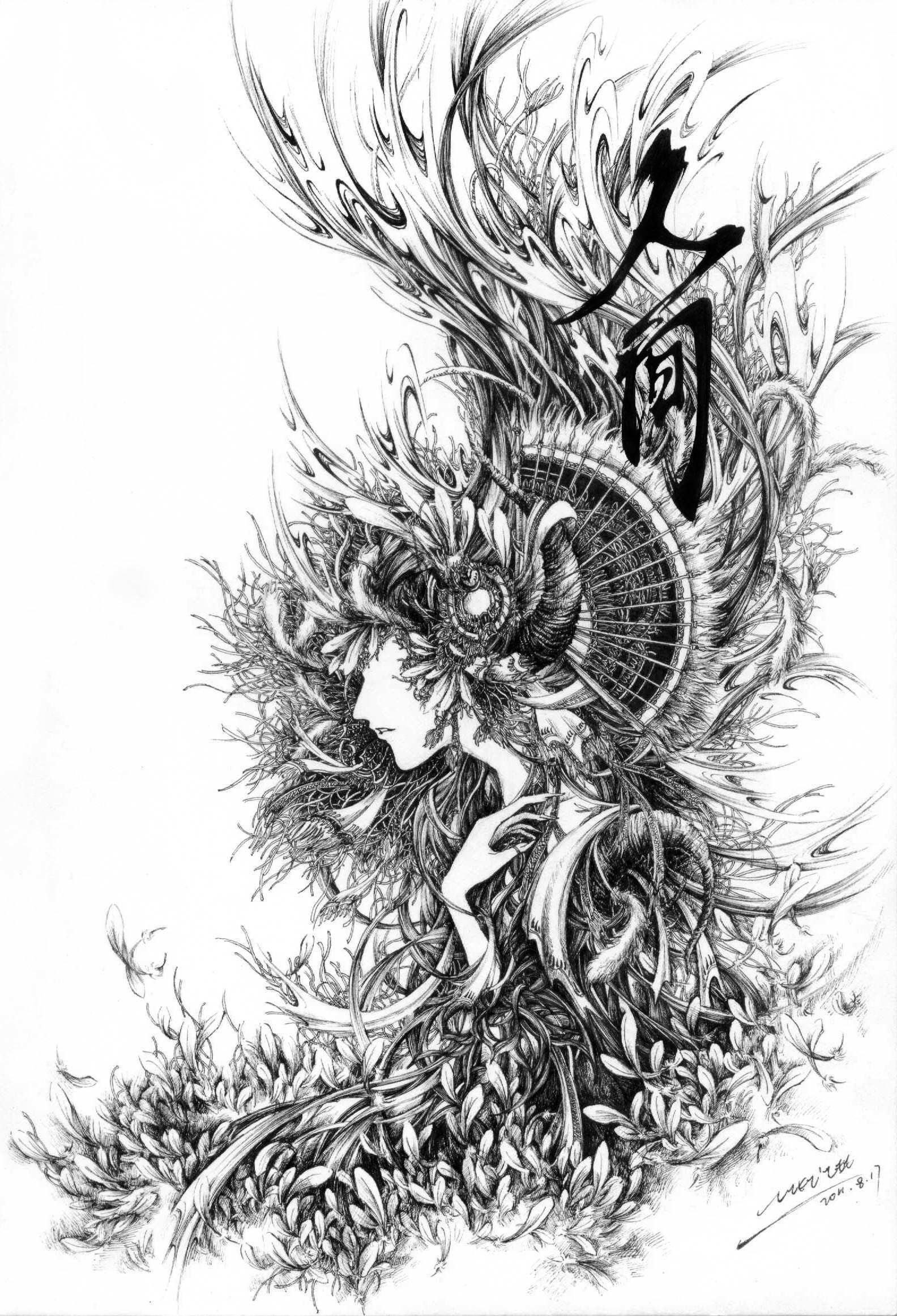 织魂——钢笔手绘《人间》《浮灯》··viki的随心幻想
