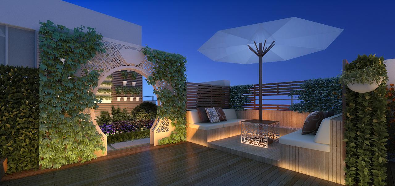 屋顶花园景观方案效果图|三维|建筑/空间|九层之台