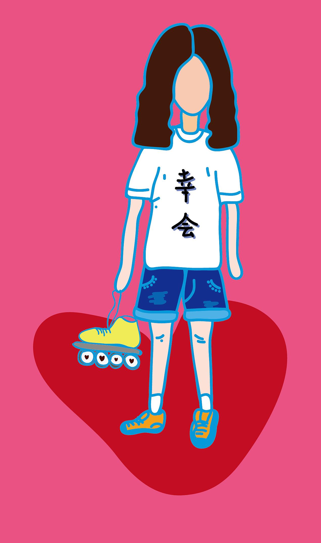 帮同学画的情侣头像,两个人是在轮滑社相识图片