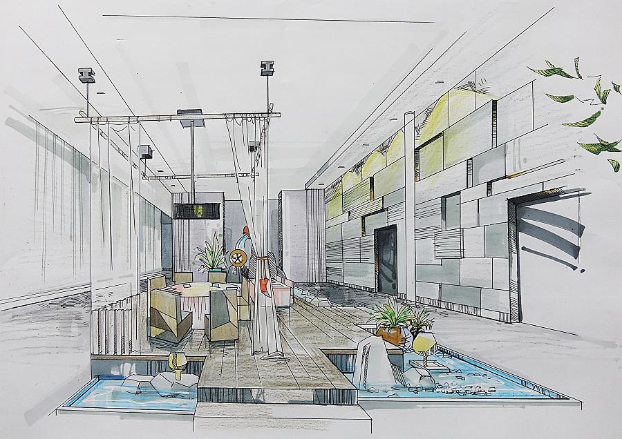 酒店期中公共就餐区手绘图|室内设计|空间/建筑|迎乙