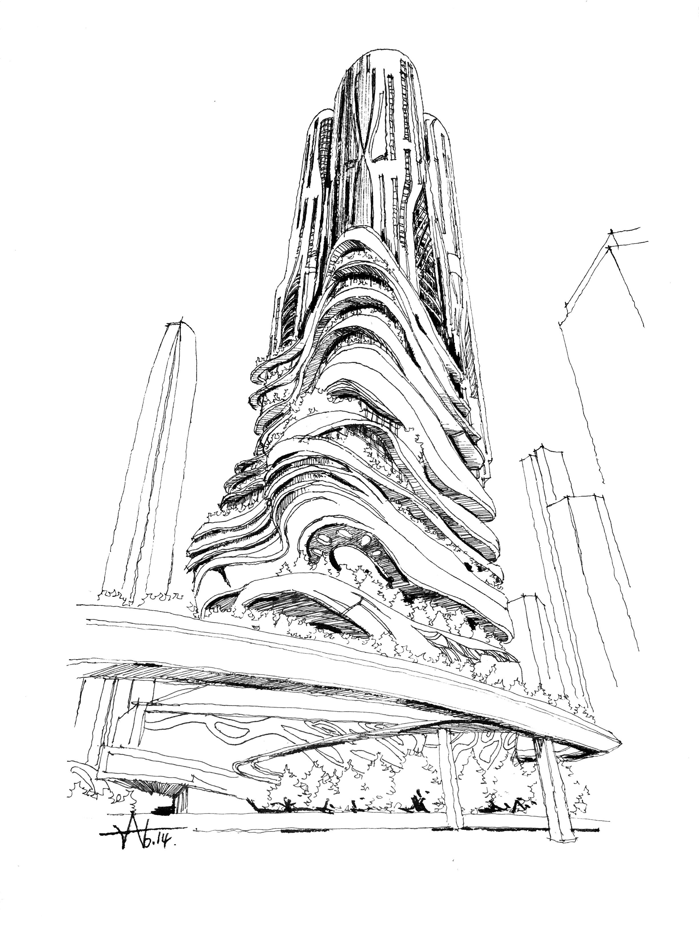 现代建筑设计手绘表现