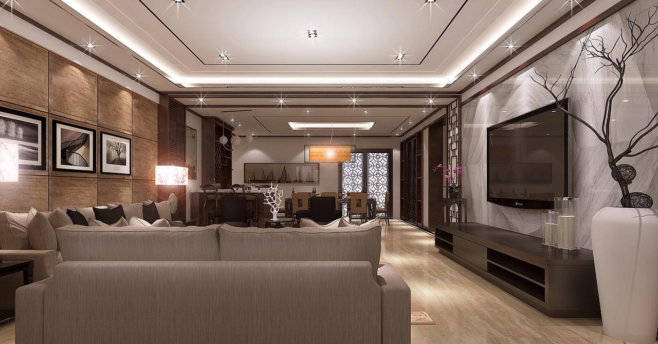 贵阳《中天展城》简约中式建筑空间|案例|室安徽省监狱装修设计室图片