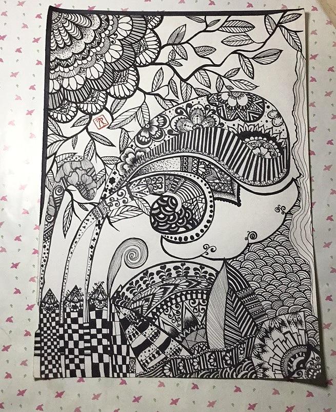 黑白画01图片