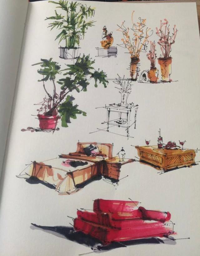 马克笔手绘练习|室内设计|空间/建筑|三水00