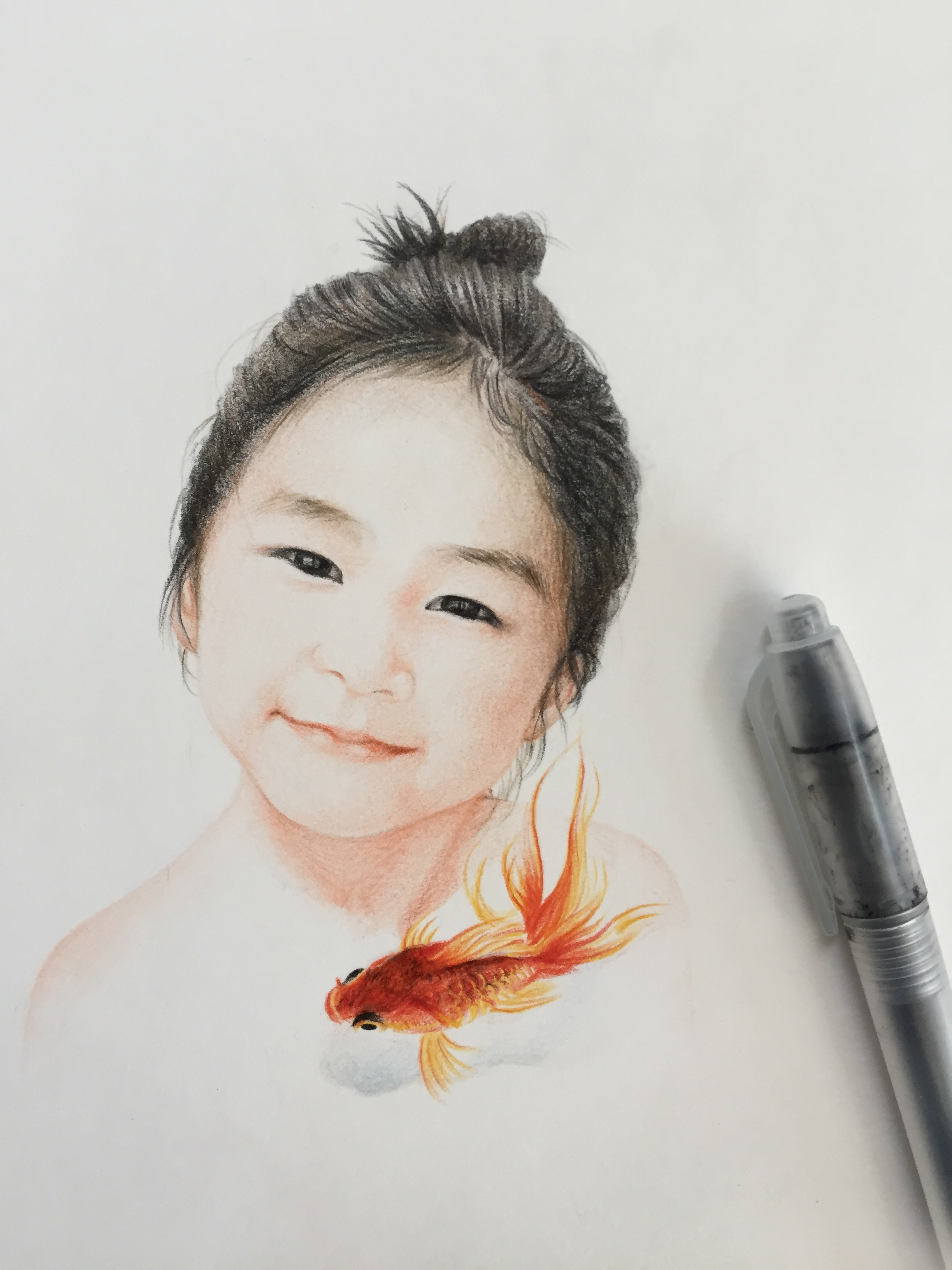 彩铅肖像画素描手绘小朋友