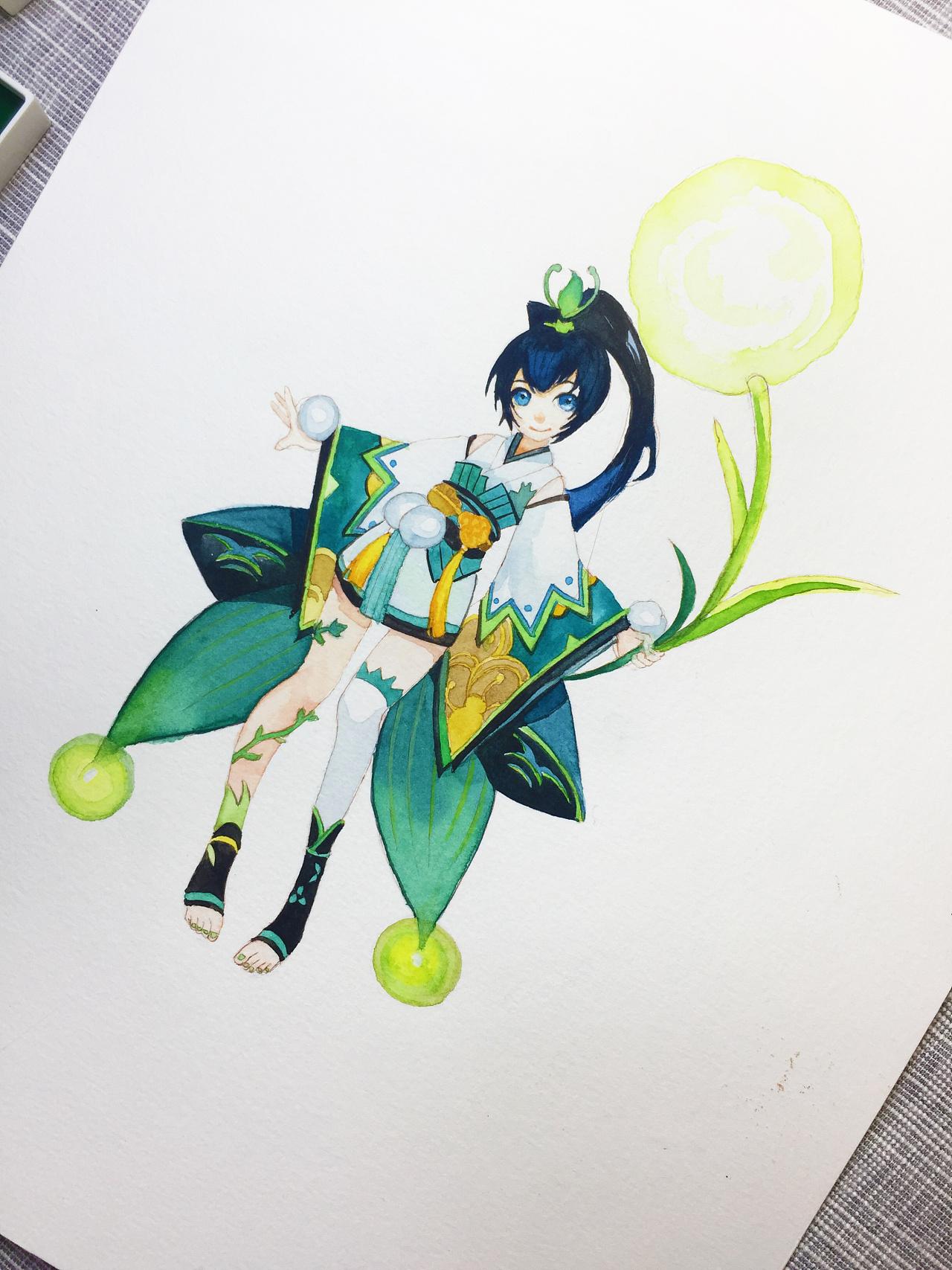 水彩手绘--阴阳师 莹草
