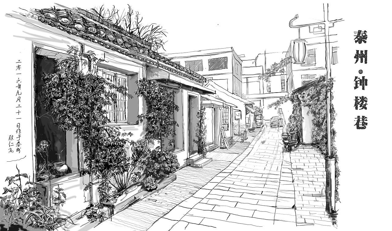 一些铅笔风景素描画_建筑风景素描_建筑风景速写_建筑素描_风景素描_一起网