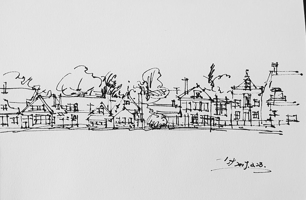 建筑手绘 钢笔淡彩2017.3.23