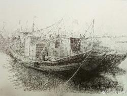 钢笔画船的练习