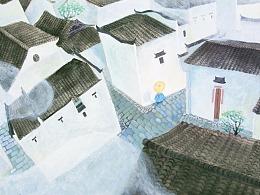 《雨巷》诗作插画