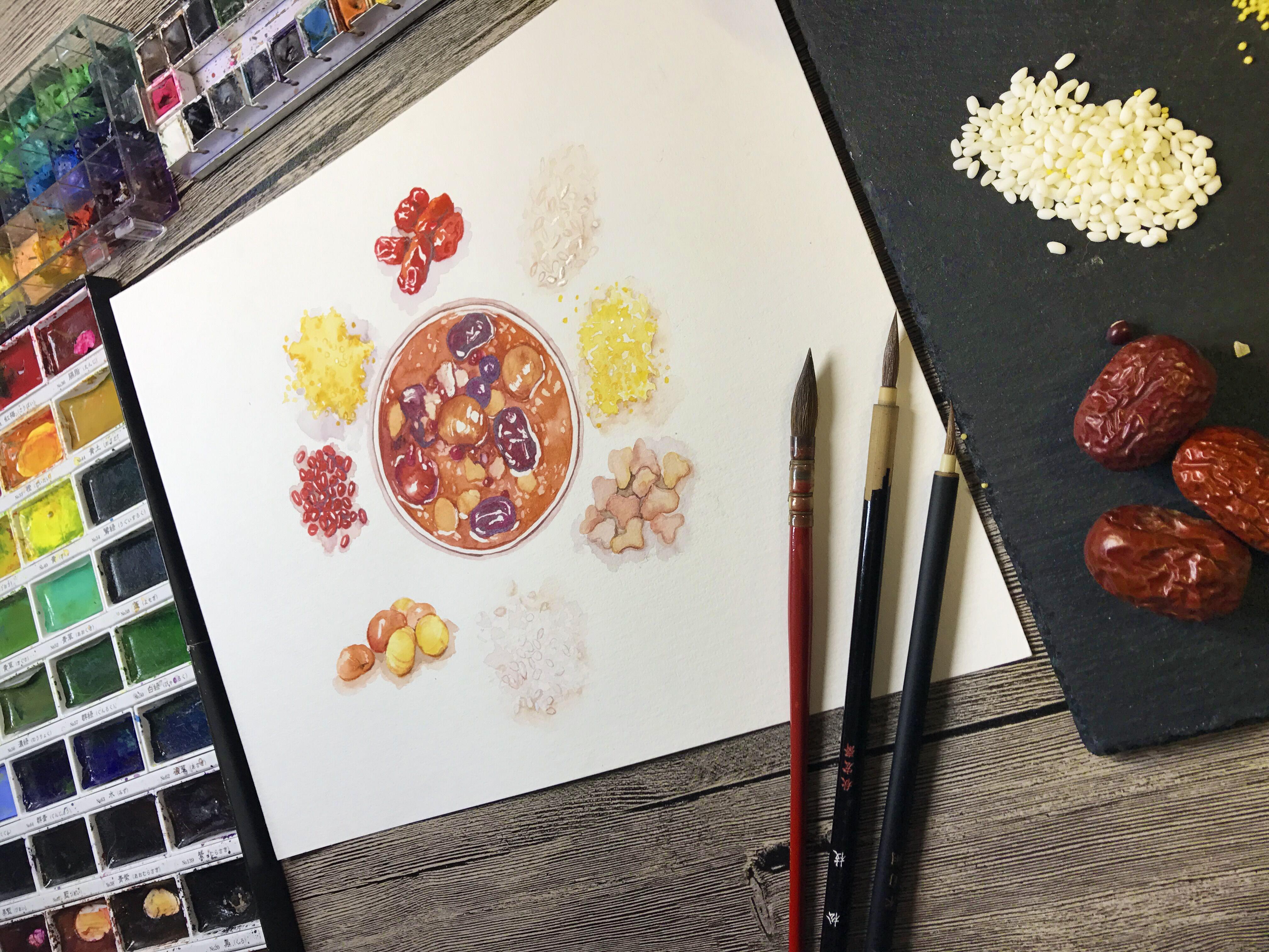 水彩手绘—腊八粥