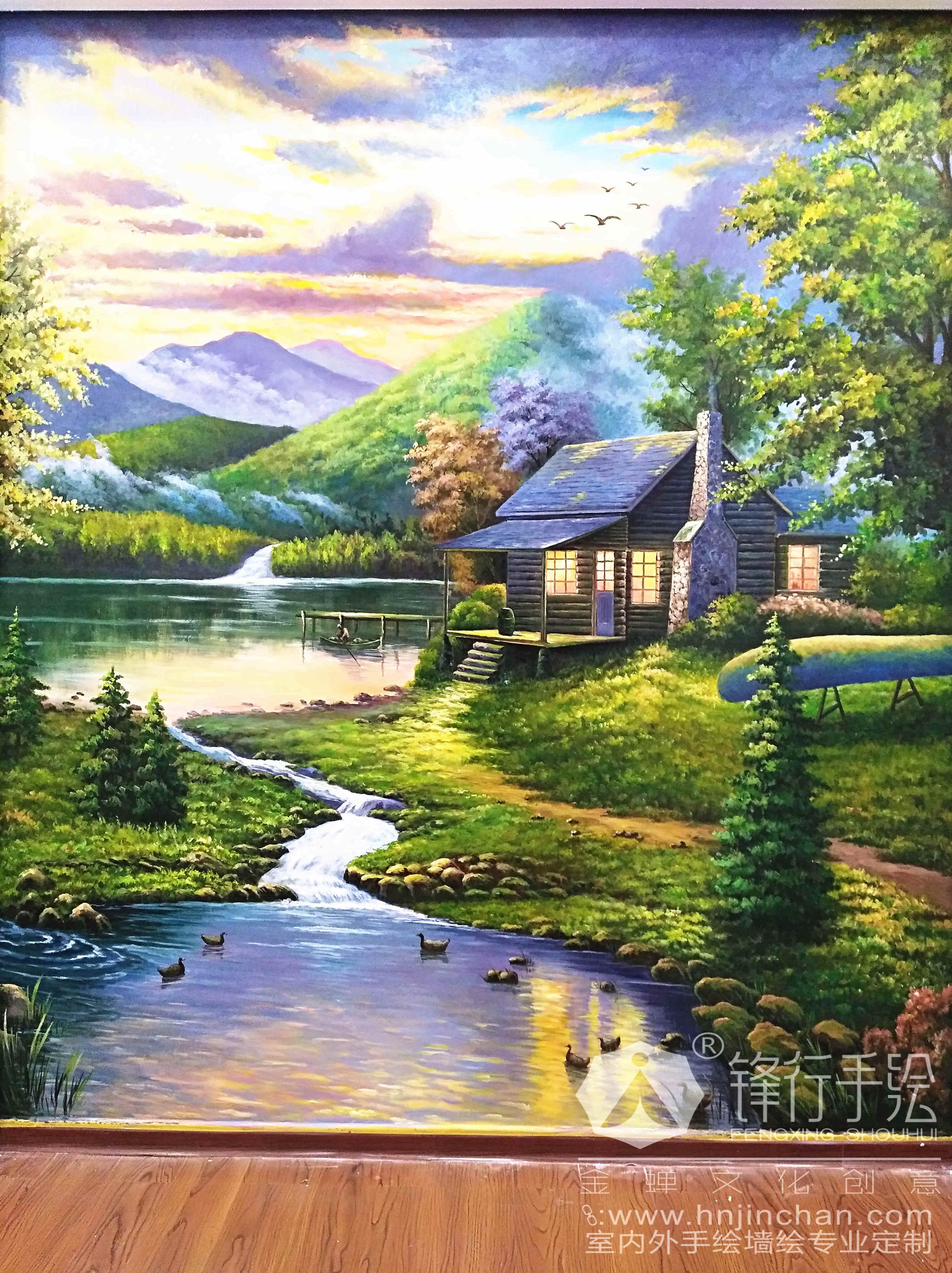 美涂士漆 風景墻繪 懷化鋒行手繪