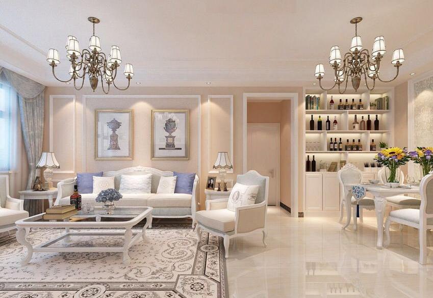 恒升一号庄园装修效果图115平简欧风格三室两厅设计图片