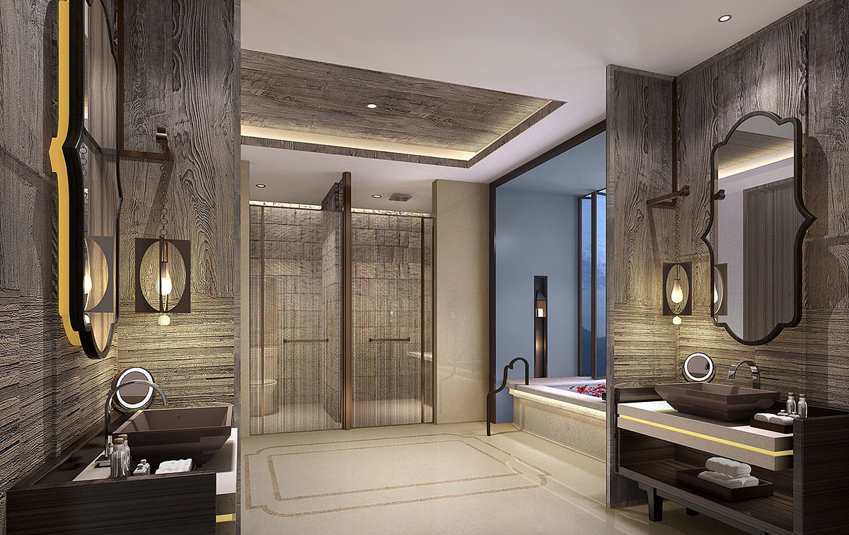 许昌别墅装修设计 传统中式别墅室内设计效果图图片