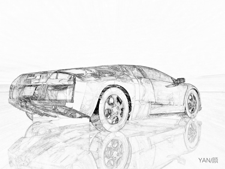 跑车素描手绘壁纸