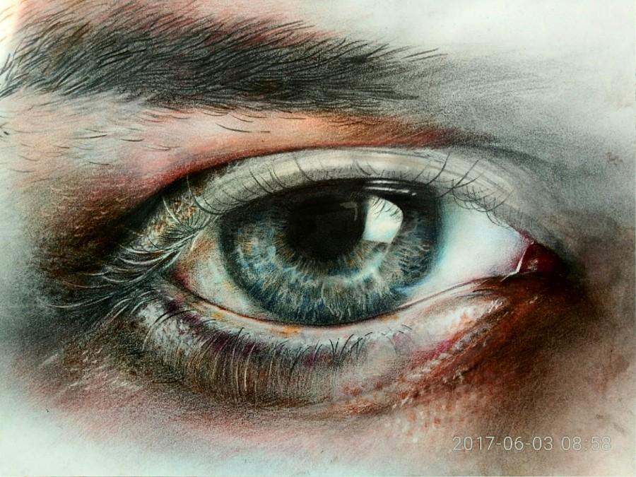原创作品:彩铅手绘眼睛