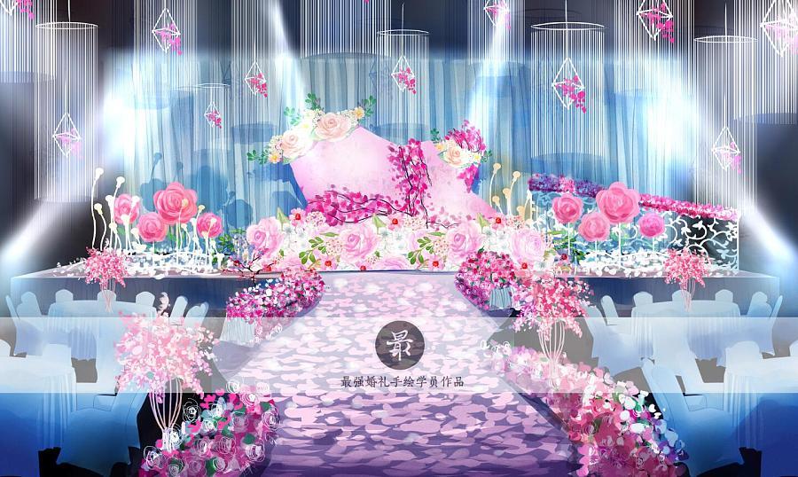 【婚礼手绘】电脑手绘—粉蓝厅内效果图