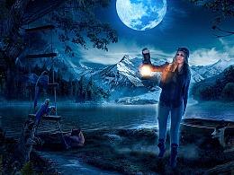 夜景光影表现-河边 海报合成练习