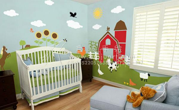 儿童房手绘墙 为宝宝带来梦幻般童年