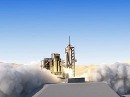 C4D火箭动力学作品-火箭发射-流体特效