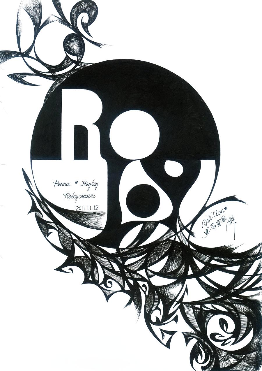 黑白字体手绘