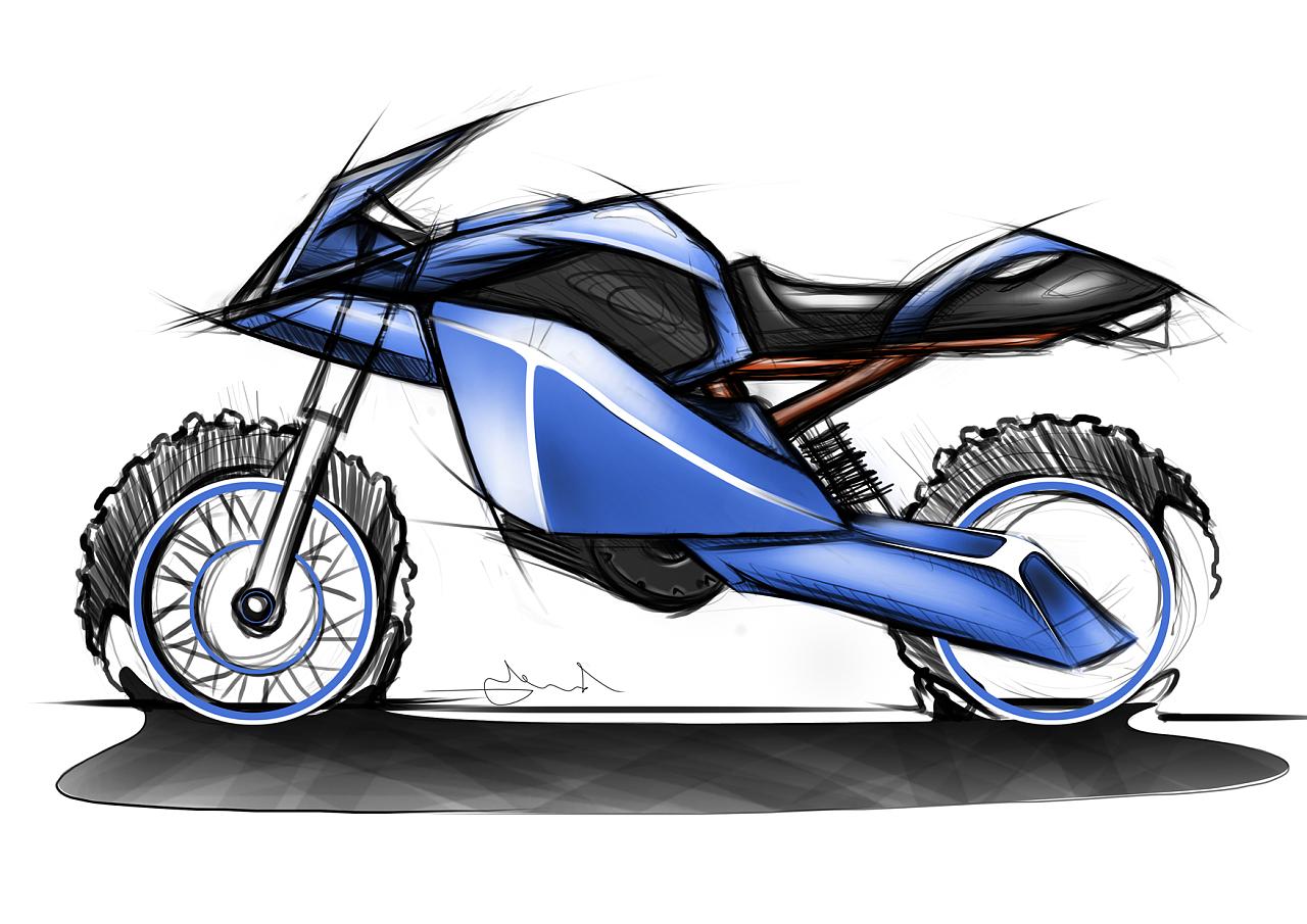 摩托车原创手绘