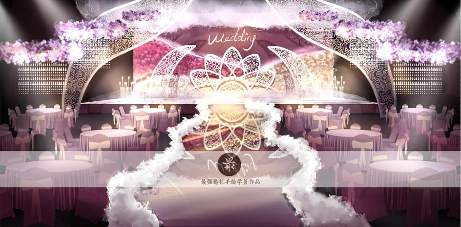 【婚礼手绘】电脑手绘—粉色厅内效果图