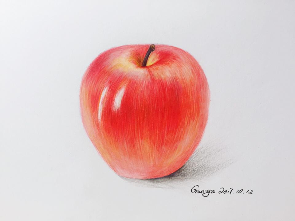 红苹果彩铅手绘