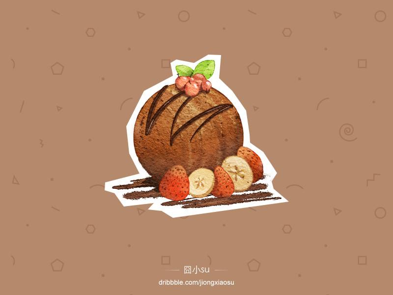 手绘甜品|绘画习作|插画|囧小su