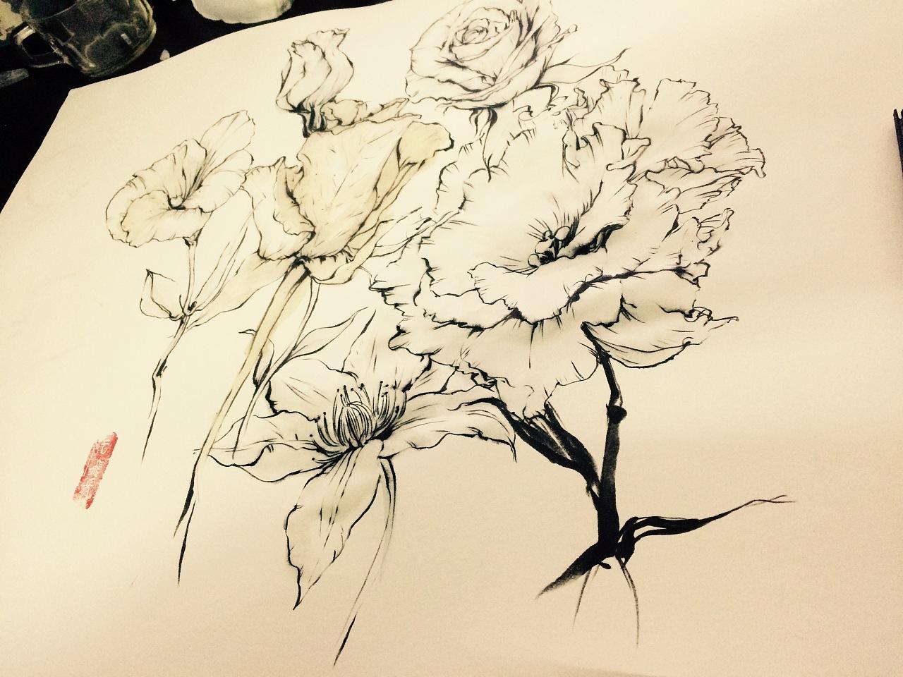 花卉植物动物线条水墨画|纯艺术|国画|kong2dog