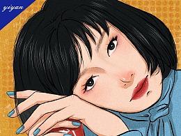 插画——短发女孩