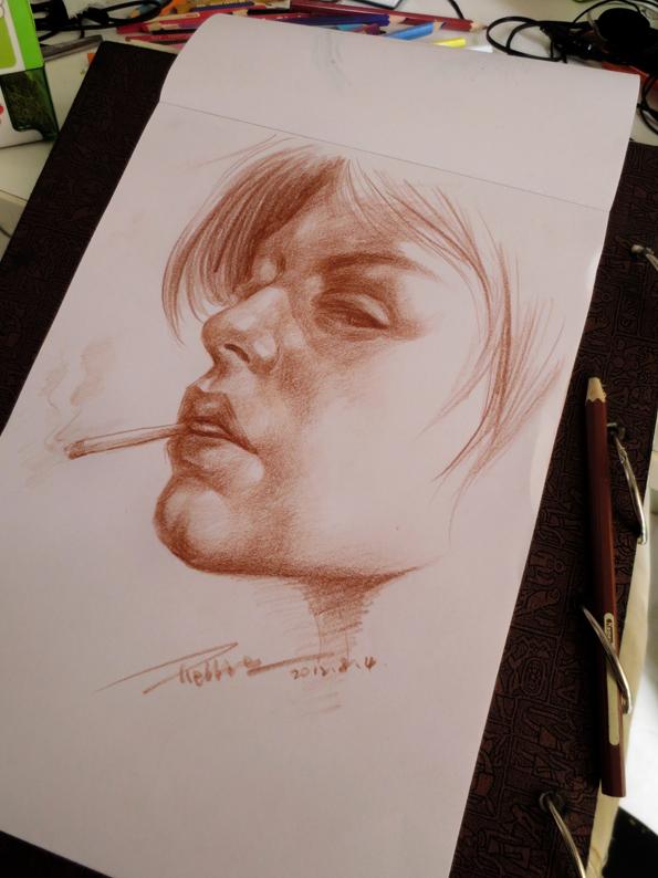 吸烟女生背景 手绘