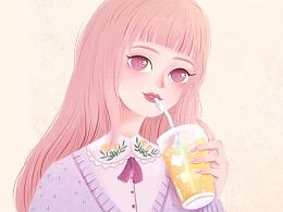 #饮品系小姐姐插画
